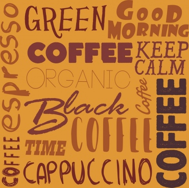 coffee background calligraphic decor vertical horizontal design