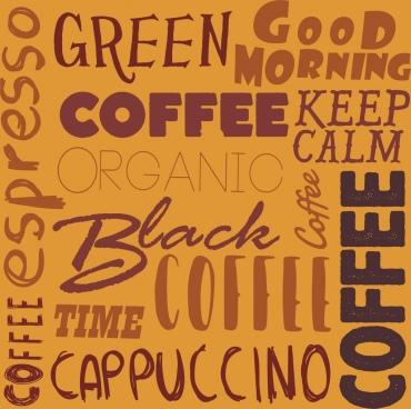 coffee background calligraphic decor vertical horizontal design