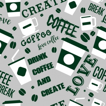 coffee background cups texts layout flat modern design