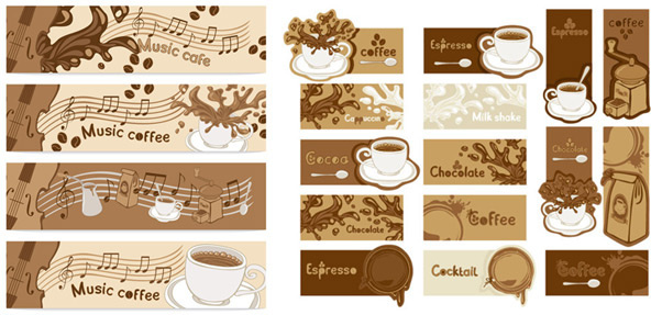 coffee banner art vector