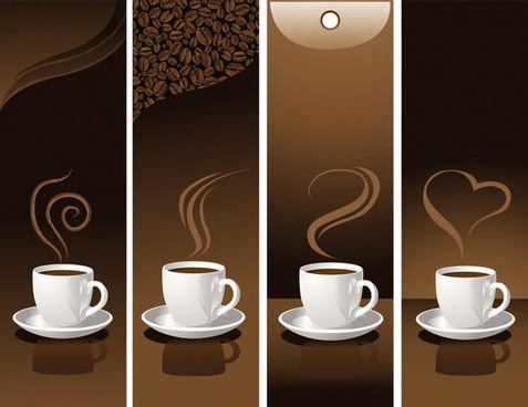 coffee advertising banners modern colored design