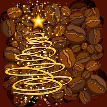 coffee beans poster twinkling star lights motion decor