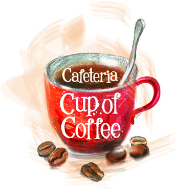 coffee beans with cup retro vector