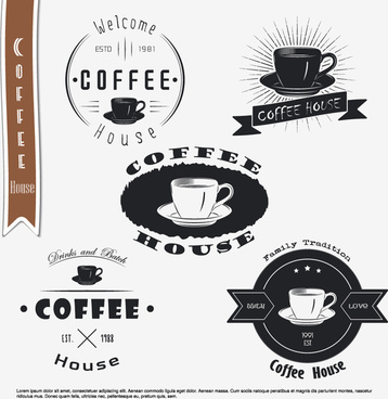 coffee black logos with labels vector set
