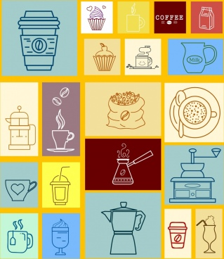 coffee brand design elements beans cup machine icons