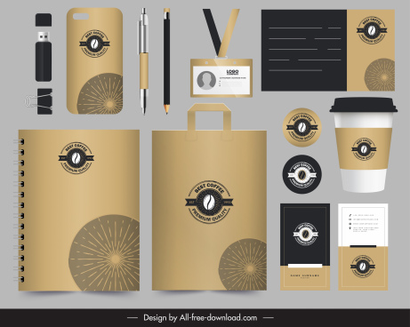 coffee brand identity sets elegant brown logo decor
