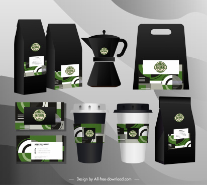 coffee brand identity sets flat modern abstract decor