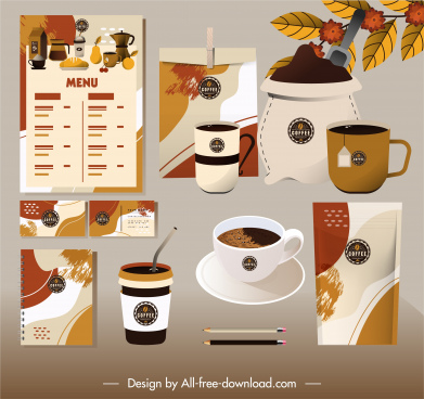 coffee branding identity sets classic brown grunge decor
