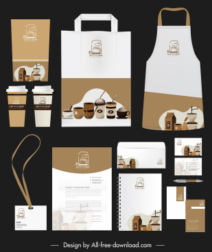 coffee branding identity sets elegant brown white decor