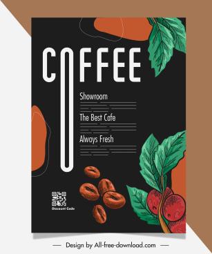 coffee brochure template elegant dark design handdrawn classic