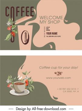 coffee business card template elegant classic deform decor