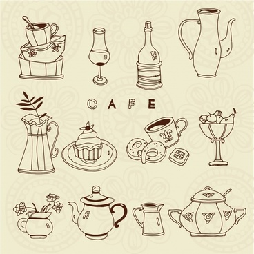 dishware design elements classical sketch jar cup icons