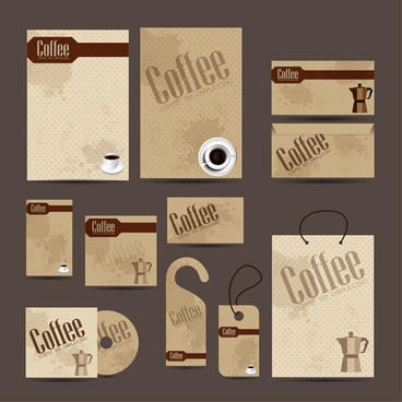 coffee cards and tags with cd vector