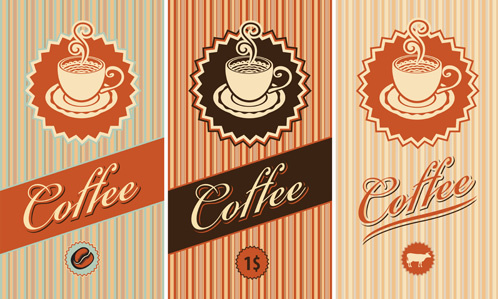 coffee cards design elements vector