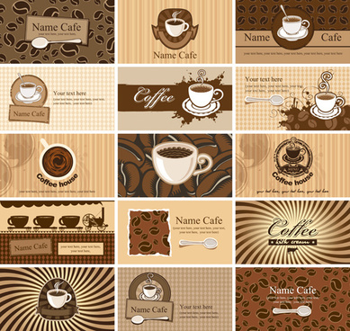 coffee cards vector set