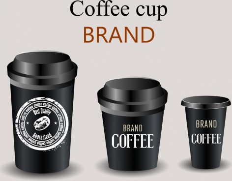 coffee cup icons 3d shiny black design