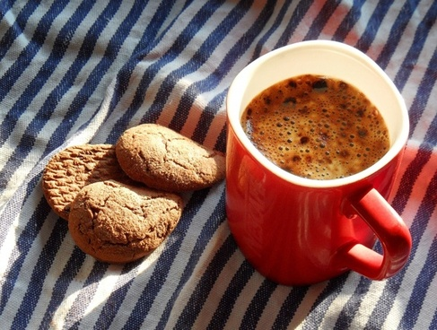 coffee cup of coffee biscuits