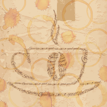 coffee cup on old paper with stain