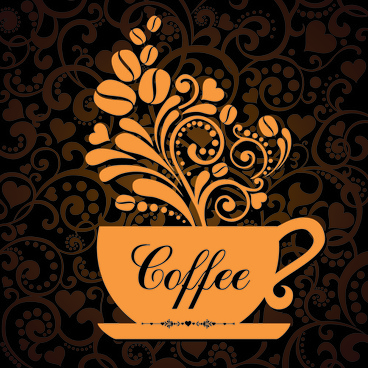 coffee cup with floral background vector