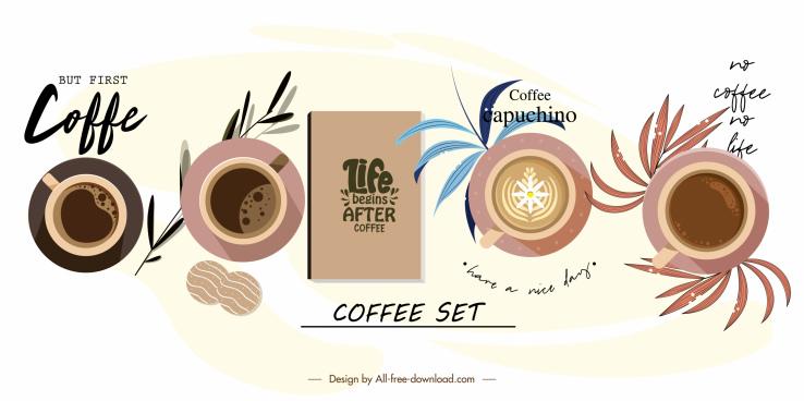 coffee decor elements cup menu sketch flat design