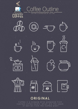coffee design elements black white flat sketch