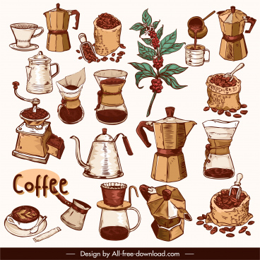 coffee design elements classical handdrawn tools bean sketch
