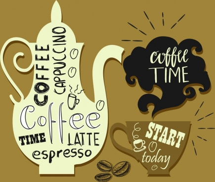 coffee design elements pot cup smoke calligraphic decor