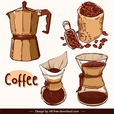 coffee design elements retro handdrawn sketch