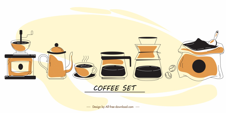 coffee design elements retro handdrawn symbols sketch