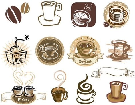 coffee draft line elements 02 vector