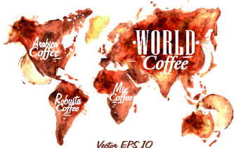 coffee drawn elements vector