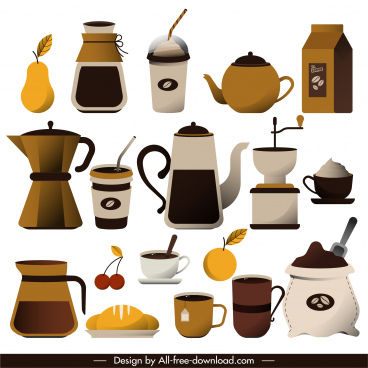 coffee drink design elements colored classical objects sketch