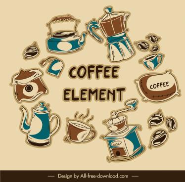 coffee elements icons flat dynamic retro design