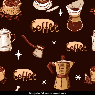 coffee elements pattern dark retro design objects sketch