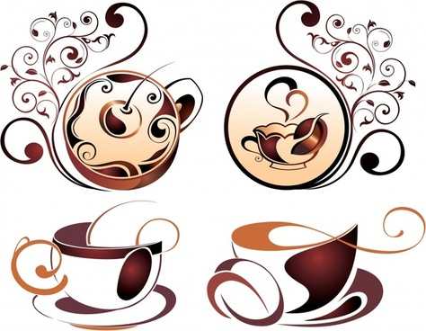coffee cup icons artistic curves decor
