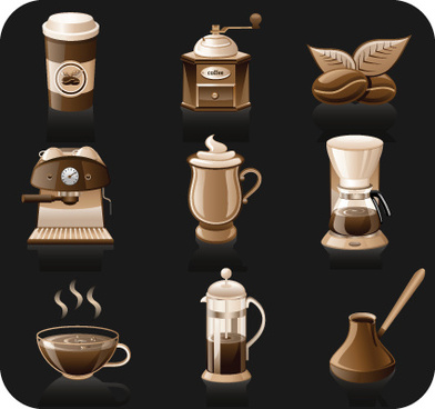 coffee elements vector icons
