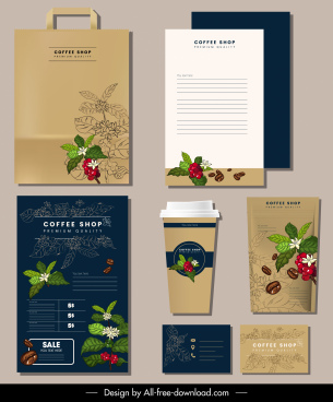 coffee flowers branding identity sets colored handdrawn decor