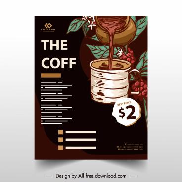 coffee flyer template dark retro handdrawn decor