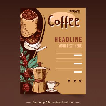 coffee flyer template vintage handdrawn elements design