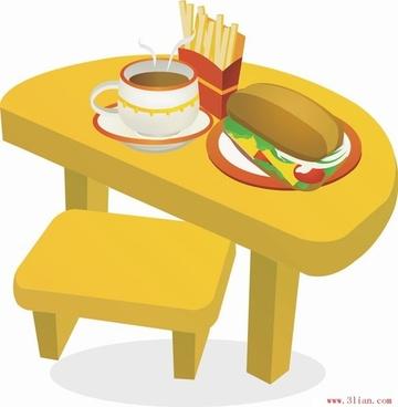 coffee french fries hamburger vector