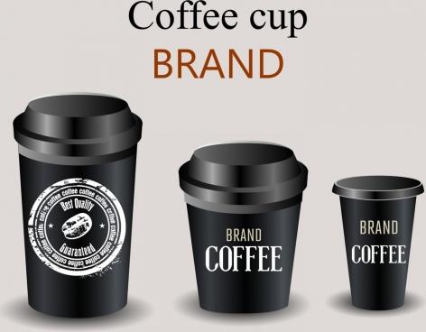 coffee glass icons 3d shiny black design