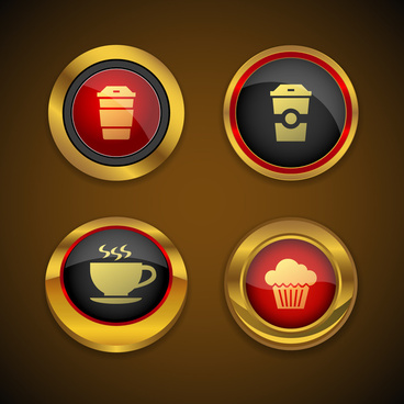 coffee gold icon button