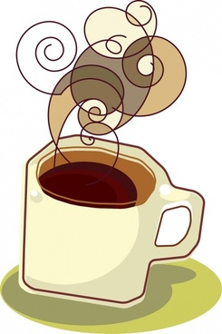 coffee advertising background colored flat handdrawn sketch