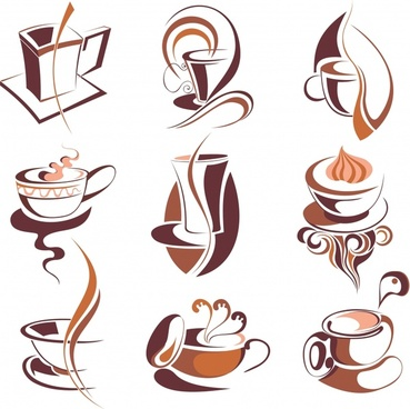 coffee icons collection brown cup curved lines decor