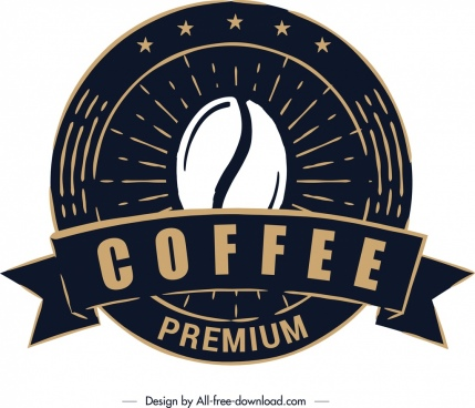 coffee label template classical black round design