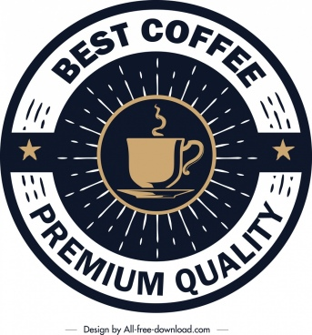 coffee label template classical circle design cup icon