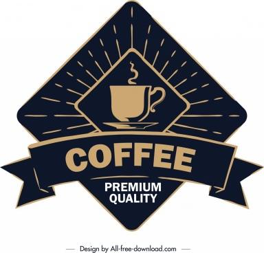 coffee label template classical dark ribbon geometric decor