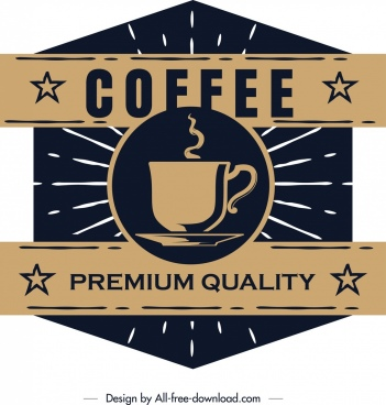 coffee label template dark retro flat polygonal design