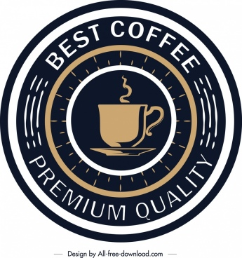 coffee label template elegant round dark design