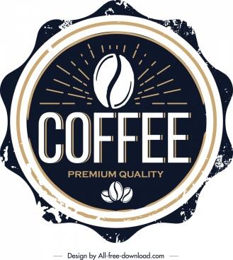 coffee label template retro circle decor dark design